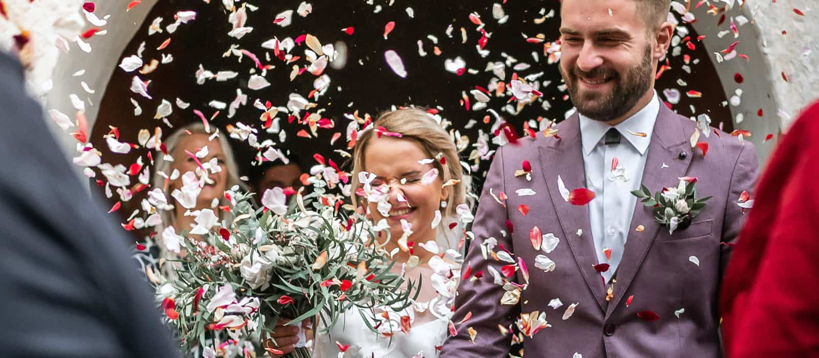 Confetti time in a wedding in Spain